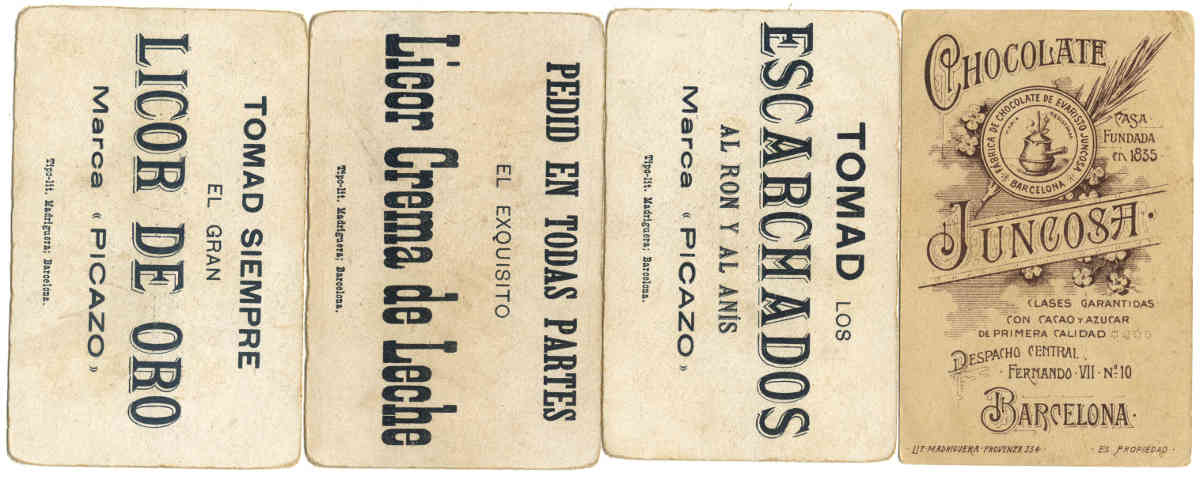 advertising backs on Spanish Historical Characters playing cards printed by Litografía Madriguera (Barcelona), c.1896