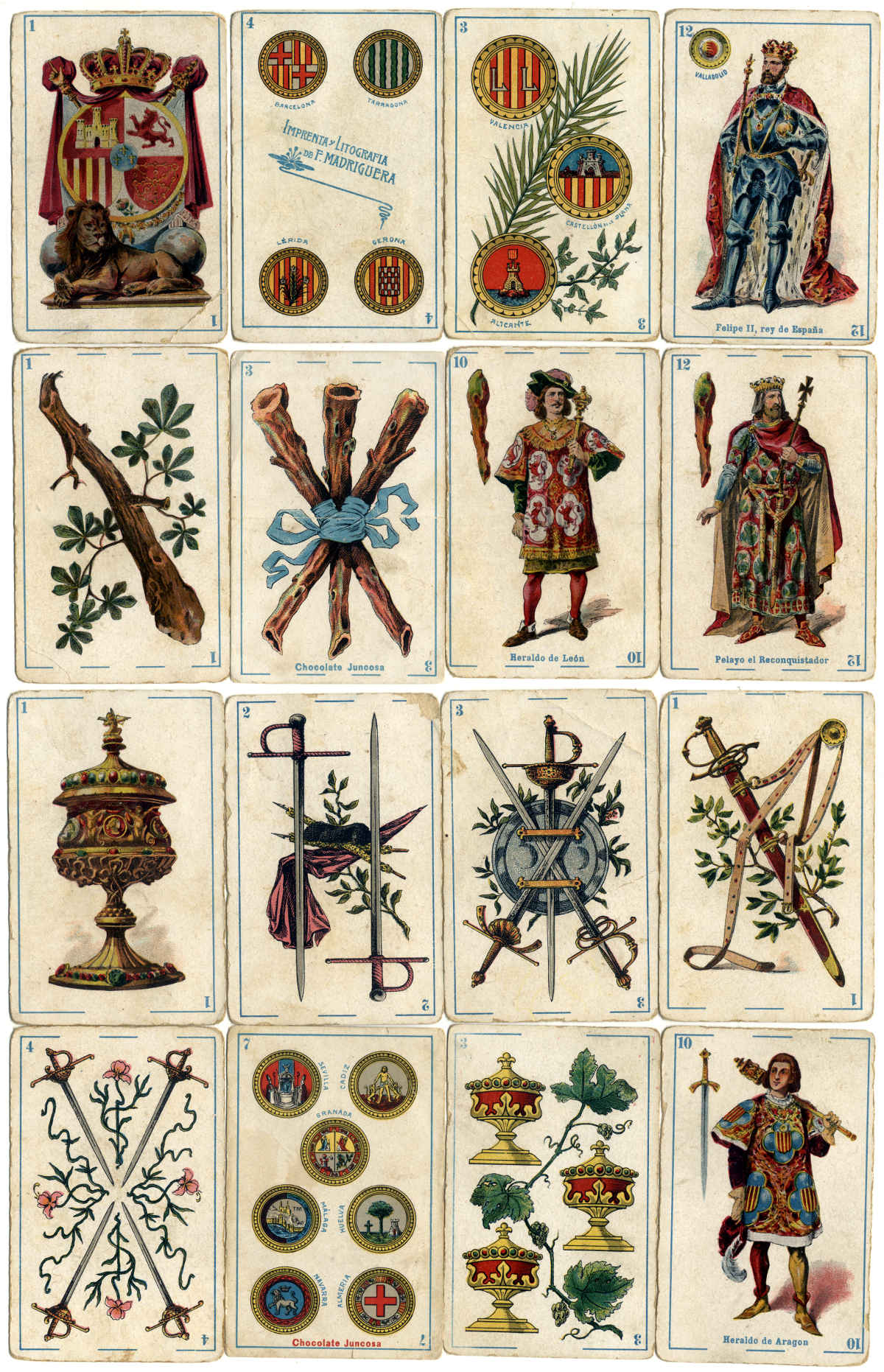 Spanish Historical Characters playing cards printed by Litografía Madriguera (Barcelona), c.1896