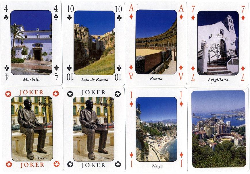 Málaga Costa del Sol souvenir playing cards published by Otermin Ediciones, 2011