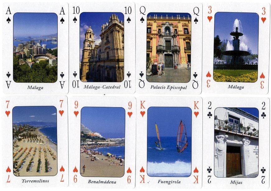 Málaga Costa del Sol souvenir playing-cards published by Otermin Ediciones, 2011