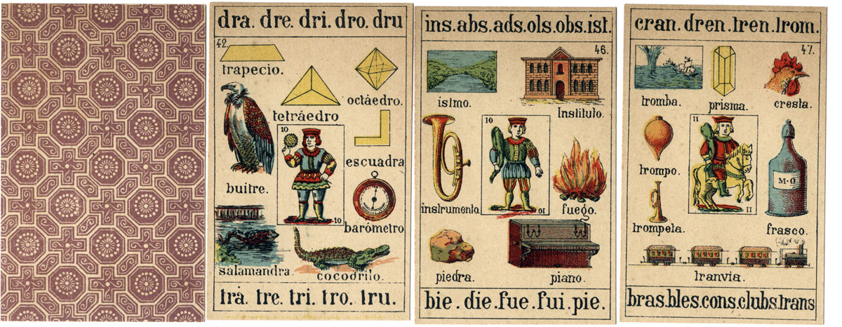 Jaime Margarit, Palamós (Gerona) 'Recreo Infantil' children's educational cards, c.1888