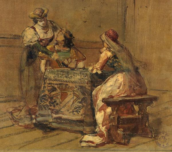 detail from Personajes medievales jugando a naipes by Luis Taberner Montalvo, c.1880. Museo del Prado, Madrid