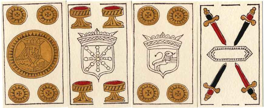 Facsimile of 17th century Spanish-suited playing cards produced by Erregeak, Sormen S.A., Vitoria-Gasteiz (Alava), Spain, 1988.