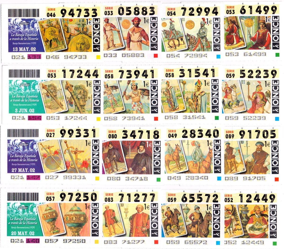 Spanish O.N.C.E. National Lottery Coupons featuring Fournier's Baraja Iberoamericana