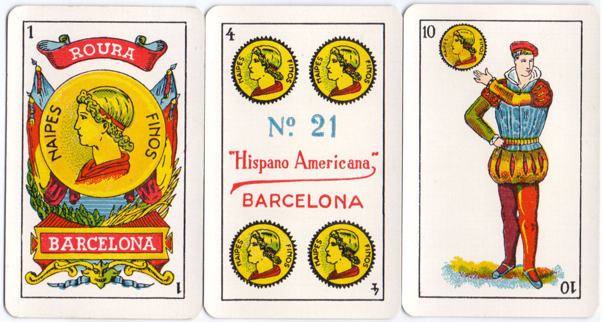 Naipes Finos No.21 Hispano Americana, in the Castilian style, by Juan Roura, Barcelona, c.1940