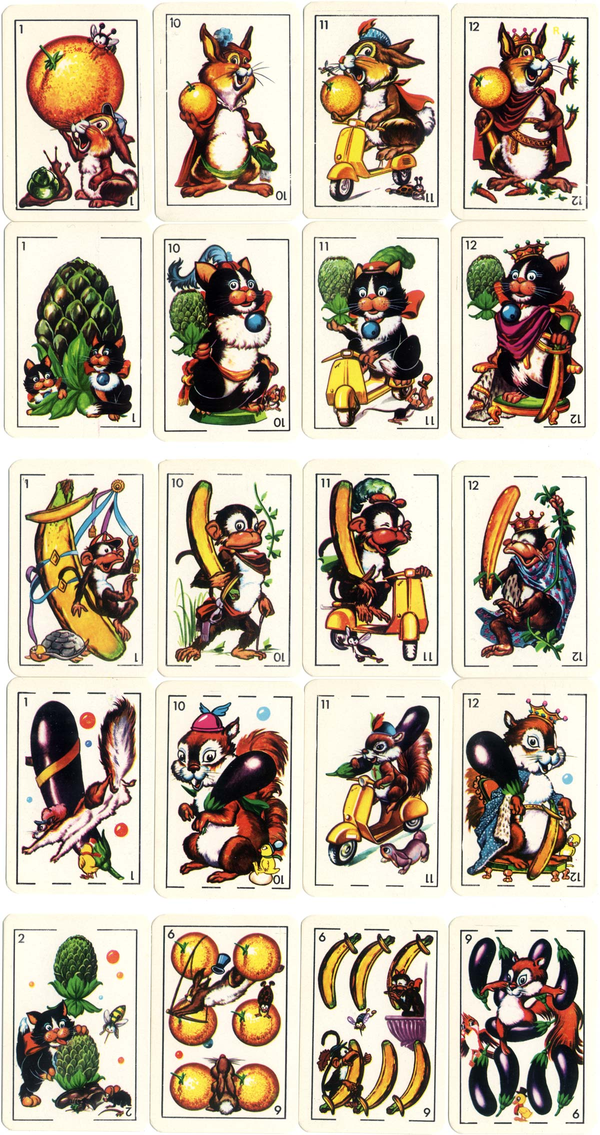 Zoo Comics animated playing cards by Litografia Ferri, 1968