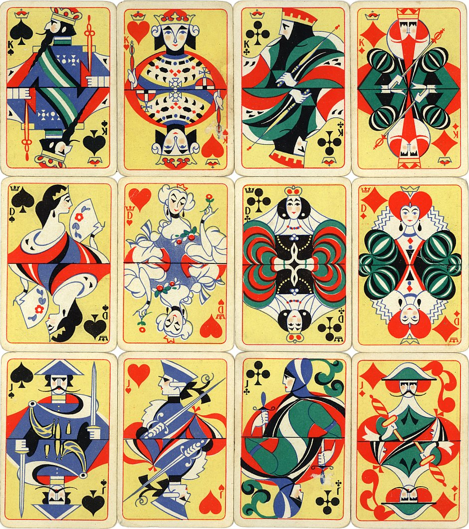art deco patience playing cards designed by Einar Nerman, 1924