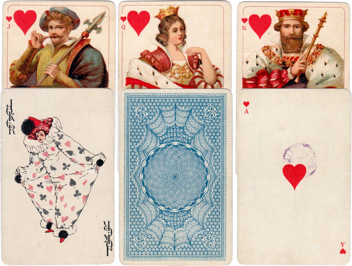 Playing cards published by Jacob Bagges AB Stockholm, close copies of Dondorf designs
