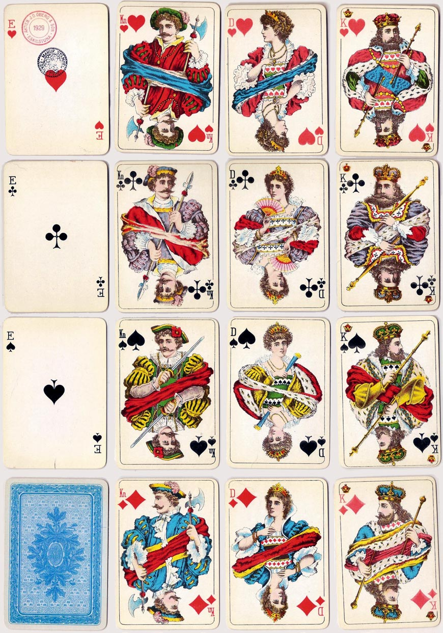 Standard Swedish playing cards manufactured by J.O. Öberg & Son, Eskilstuna, 1929