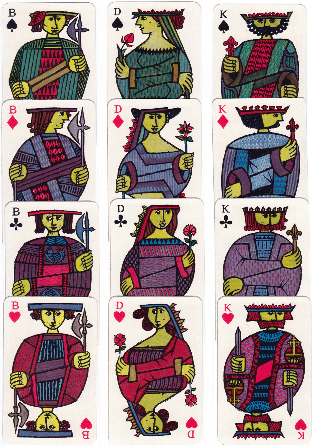 Öbergs 'Comedia' playing cards designed by Stig Lindberg from Sweden, c.1958