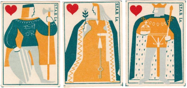 STAB Lx Matchbox labels with playing card designs