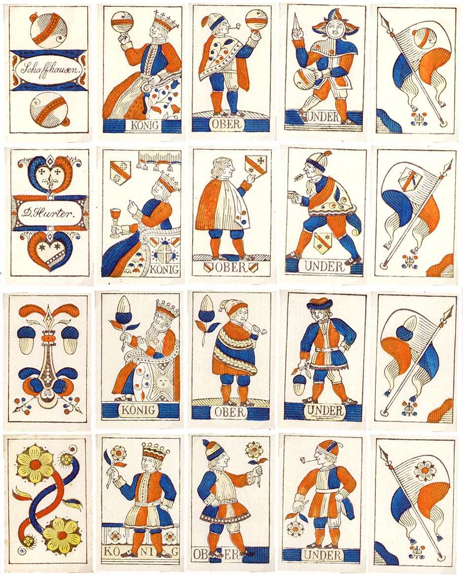 Swiss Playing Cards by David Hurter, Schaffhausen, c.1830