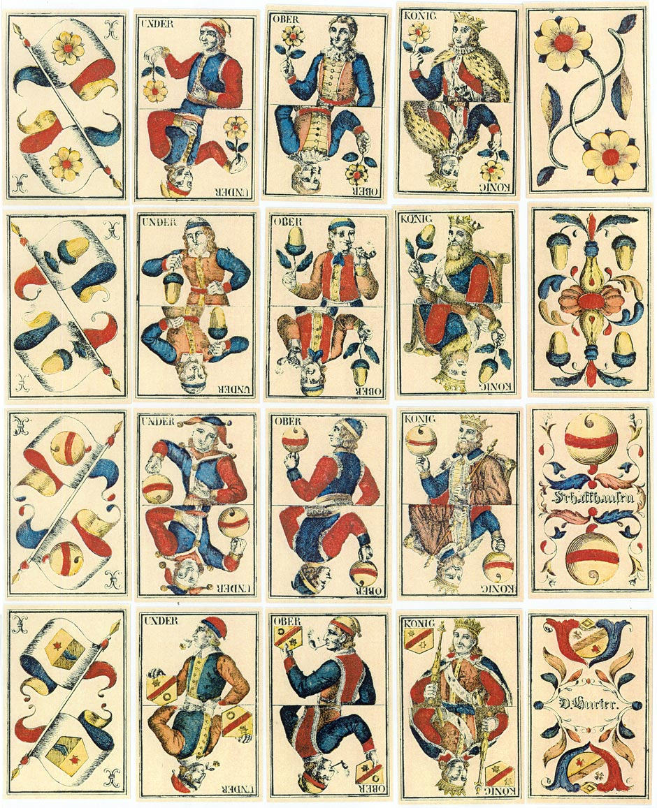 cards from double-ended Swiss-suited deck made by David Hurter, Schaffhausen