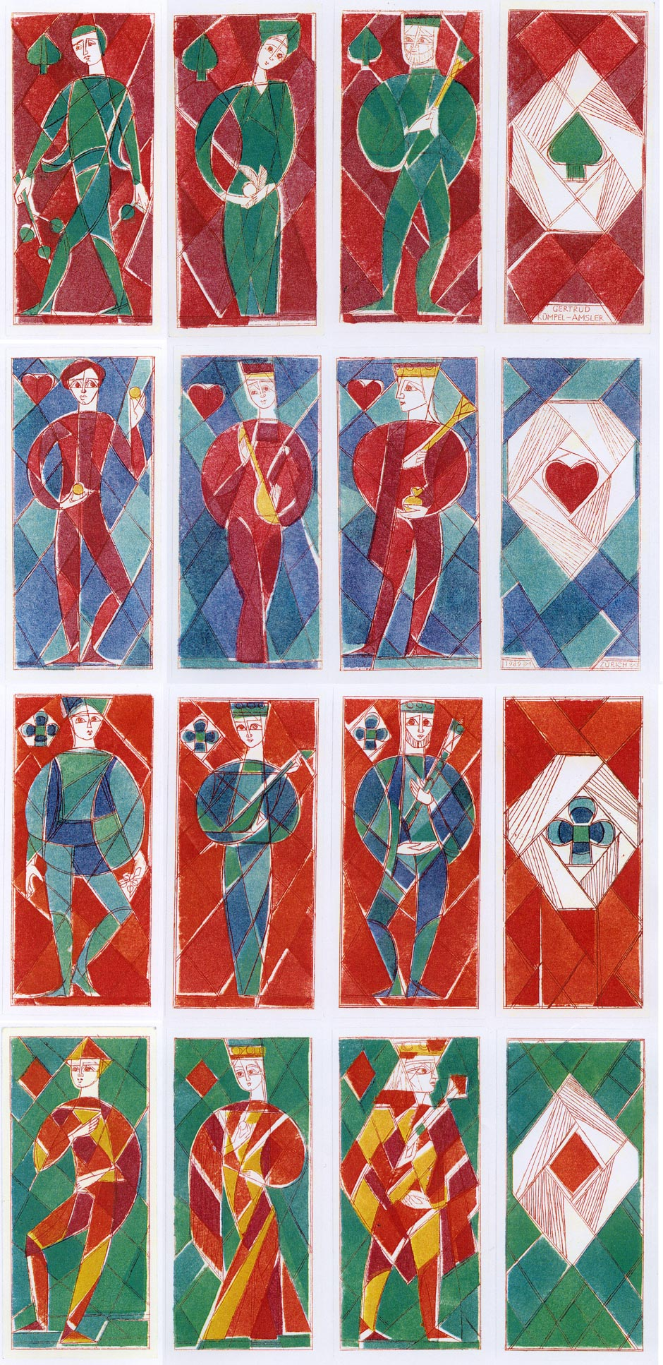 Playing cards inspired by stained glass, designed by Gertrude Kümpel, 1989