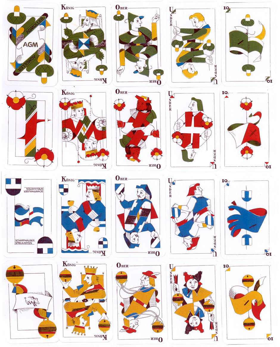 Egbert Moehsnang's 'Jass Allemand' Swiss-suited playing cards published by AG Müller, 1982