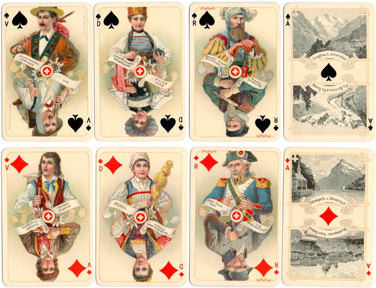 """""""La Suisse Historique"""" Swiss Cantons souvenir designed by Melchior Annen in c.1920"""
