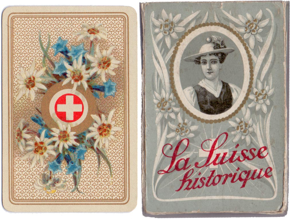 "Back and box from ""La Suisse Historique"" Swiss Cantons souvenir designed by Melchior Annen in c.1920"
