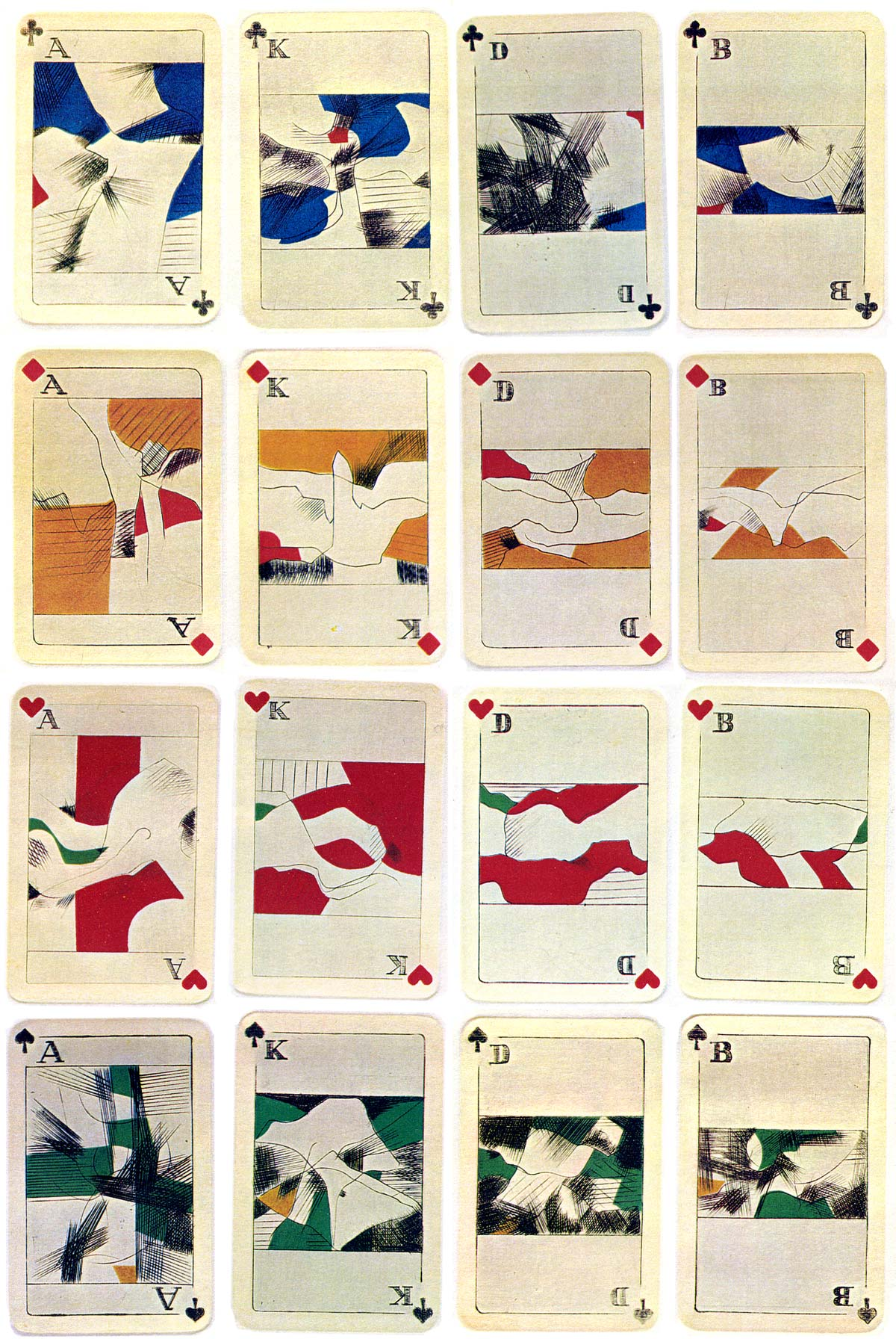 """Abstract Bridge"" playing cards, printed from copperplate engravings and hand-coloured with stencils by Egbert Moehsnang, c.1975"