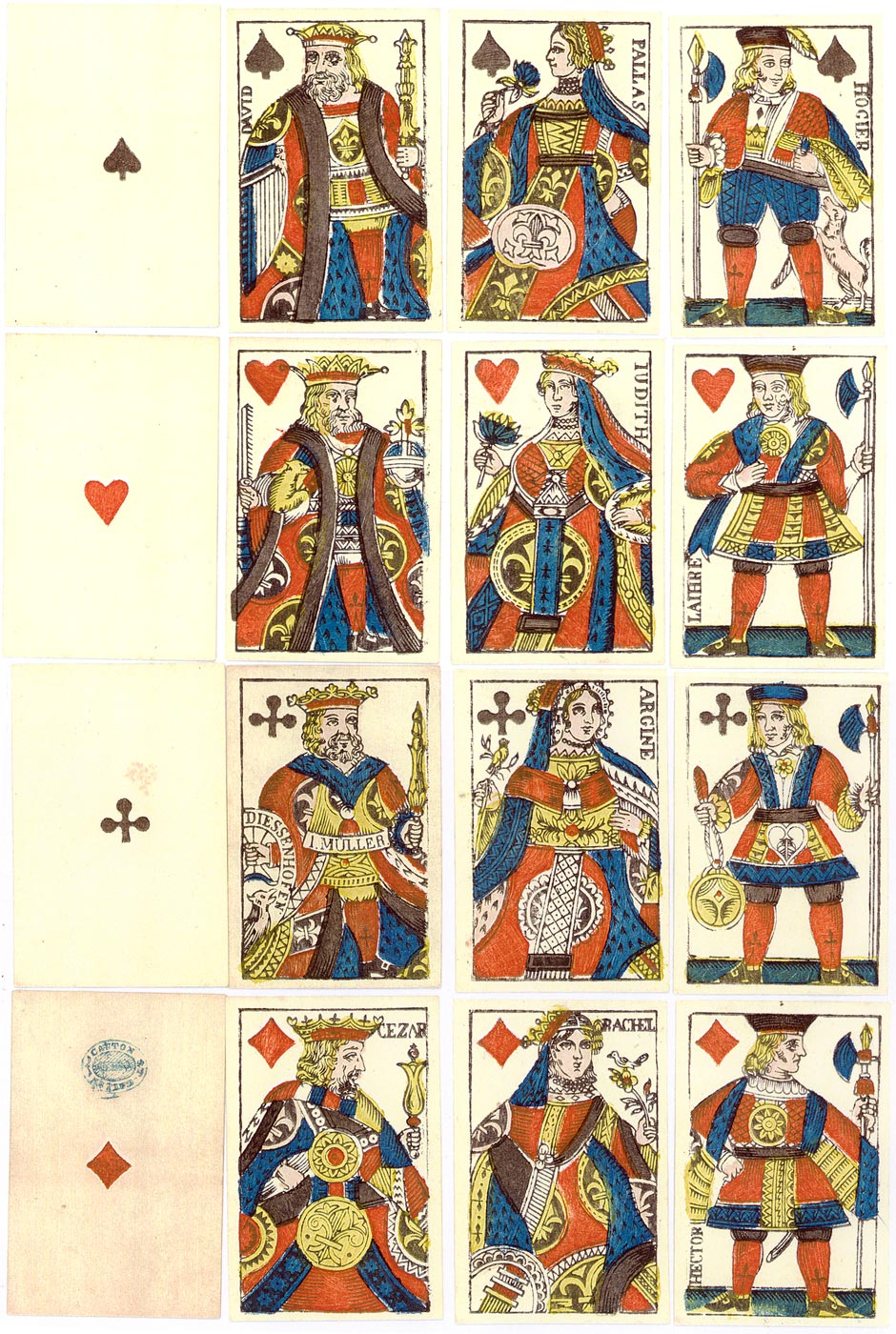 Swiss French Suited Playing Cards by J. Müller, Diessenhofen, c.1840