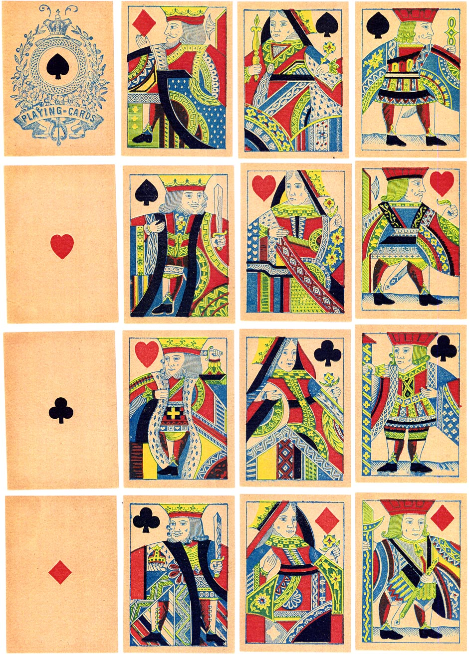 English type 'Mogul' playing cards manufactured in Switzerland by John Müller for export to India, c.1880-1890