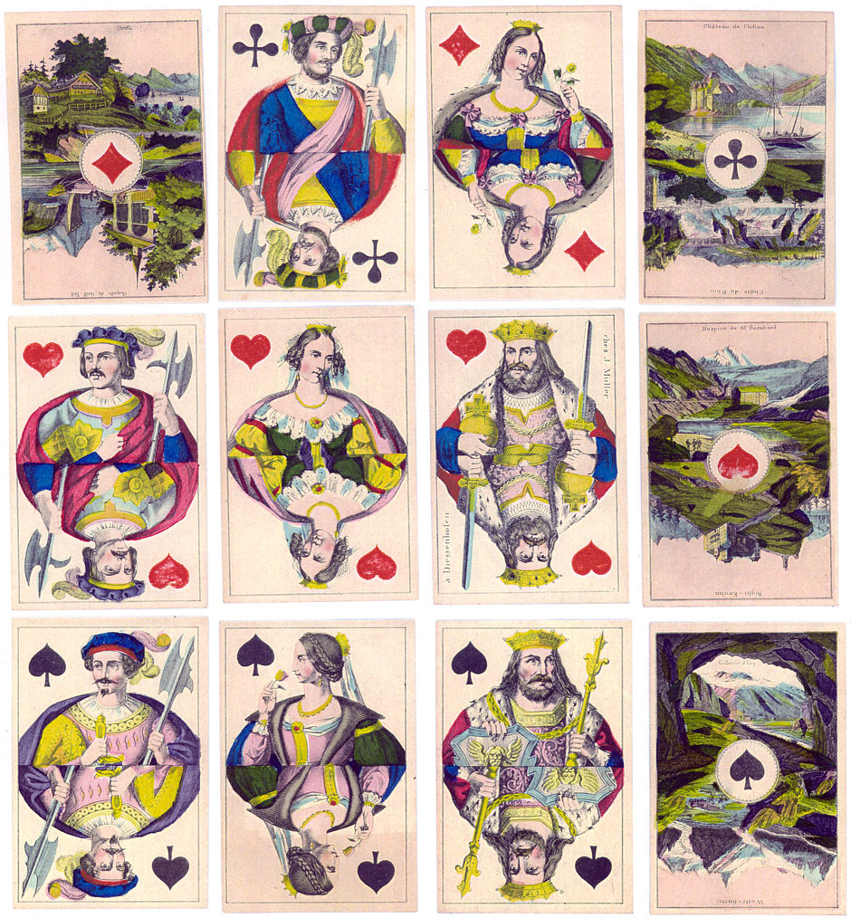 Souvenir pack with Scenic Aces made by Müller (Diessenhofen), c.1860