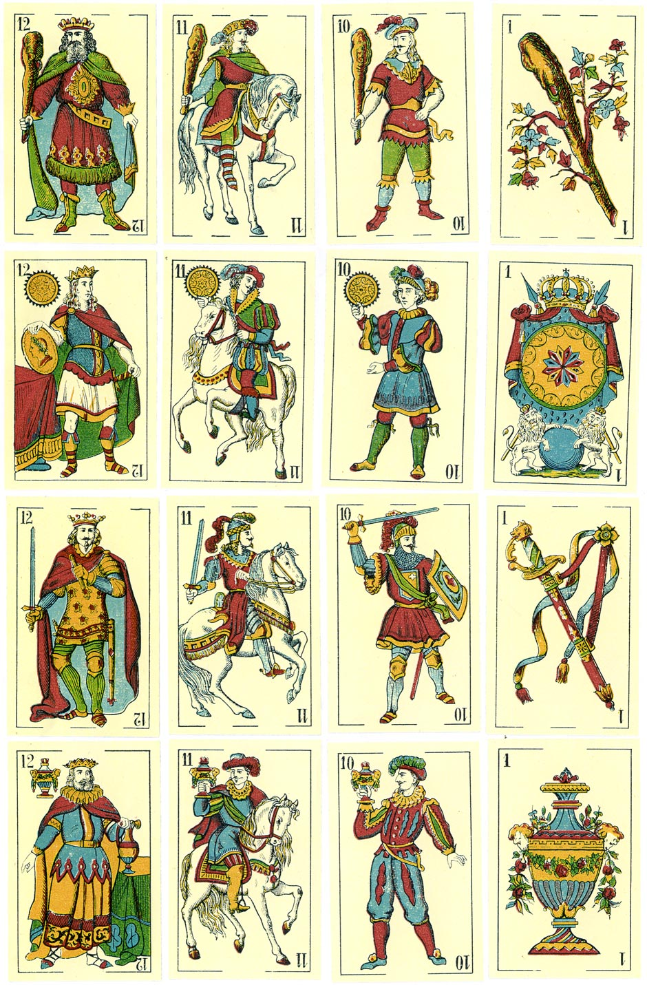 Spanish-suited playing cards manufactured by J. Müller for export, c.1850