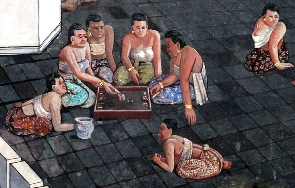 Gamblers, detail from 18th century wall painting illustrating Ramakien story