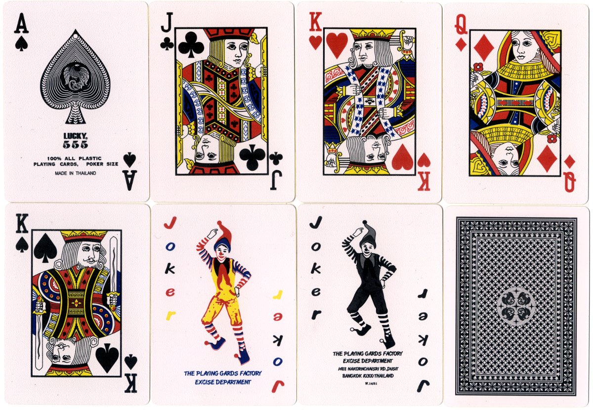 Lucky 555 playing cards made in Bangkok