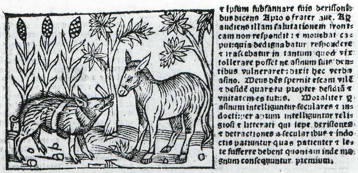 Boar and Ass illustration from a woodcut series of Aesop, Genoa, 1557