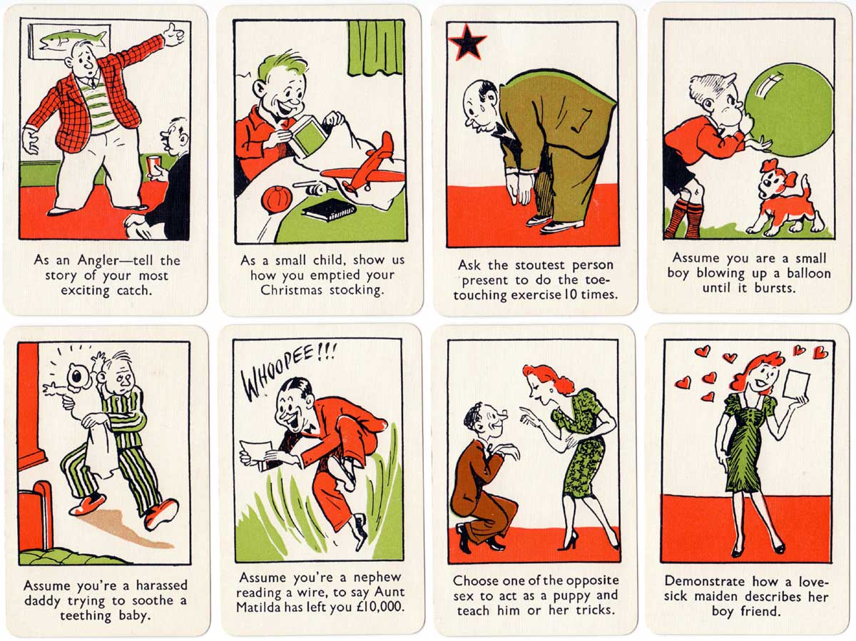 Forfeits party card game by Merit Games, J & L Randall Ltd, c.1950
