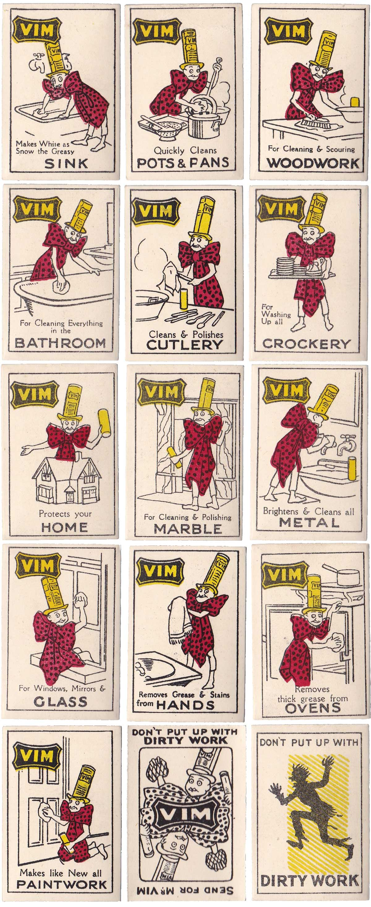 Lever Brothers miniature card game promoting Vim, 1930s