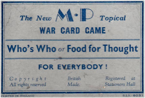 Who's Who or Food for Thought, published by M P Lambert in 1939