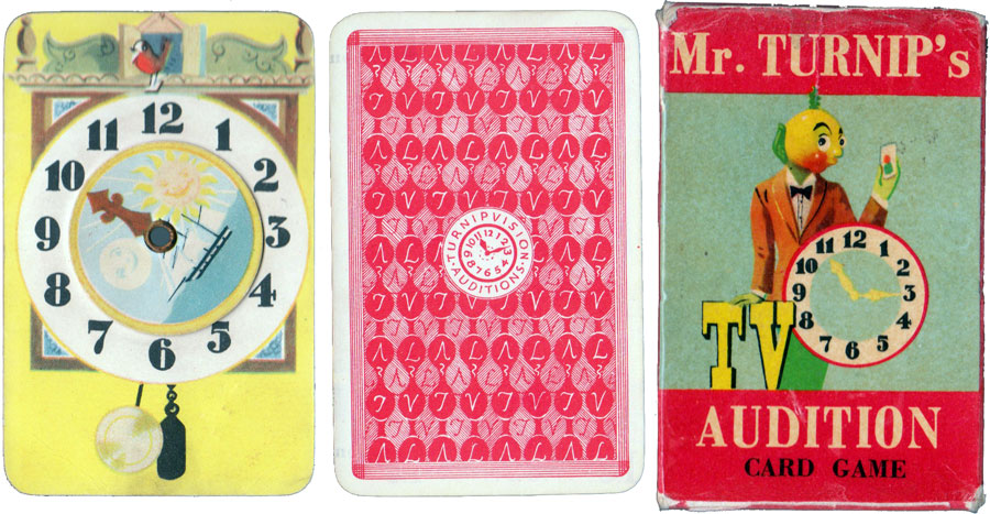 Extra card, reverse and box from Mr Turnip's TV Audition Card Game published by Ariel Productions Ltd., 1954