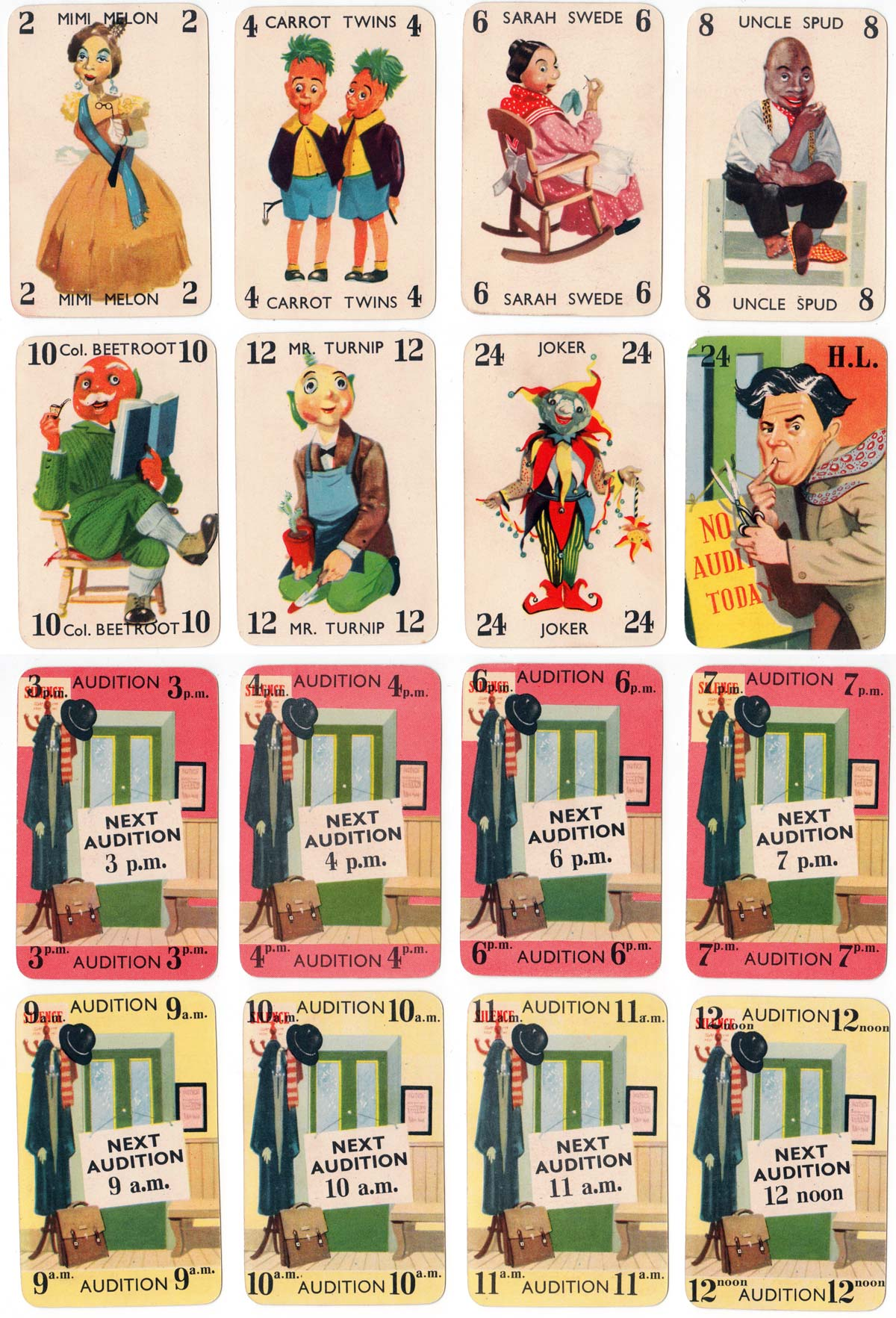 Mr Turnip's TV Audition Card Game published by Ariel Productions Ltd., 1954
