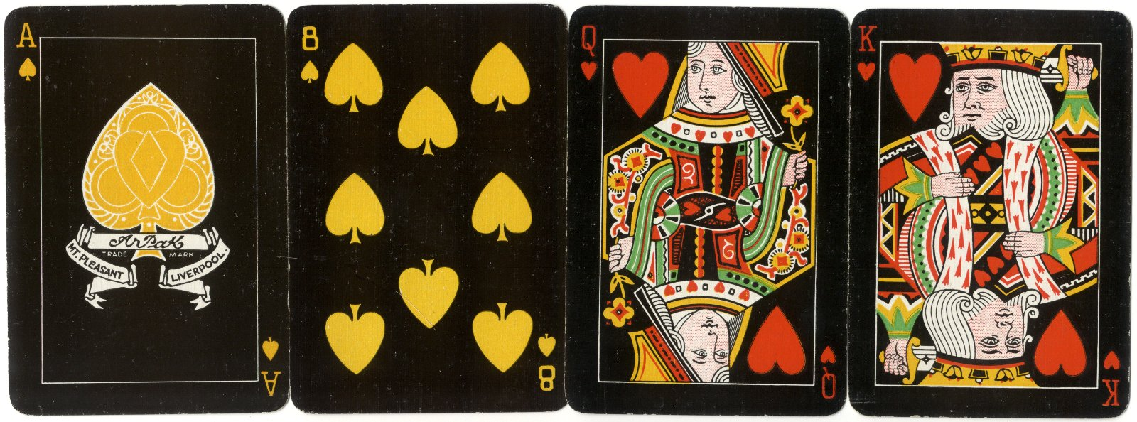 The Arpak No-Revoke playing cards, 24 Mount Pleasant, Liverpool, c.1927-35, small indices