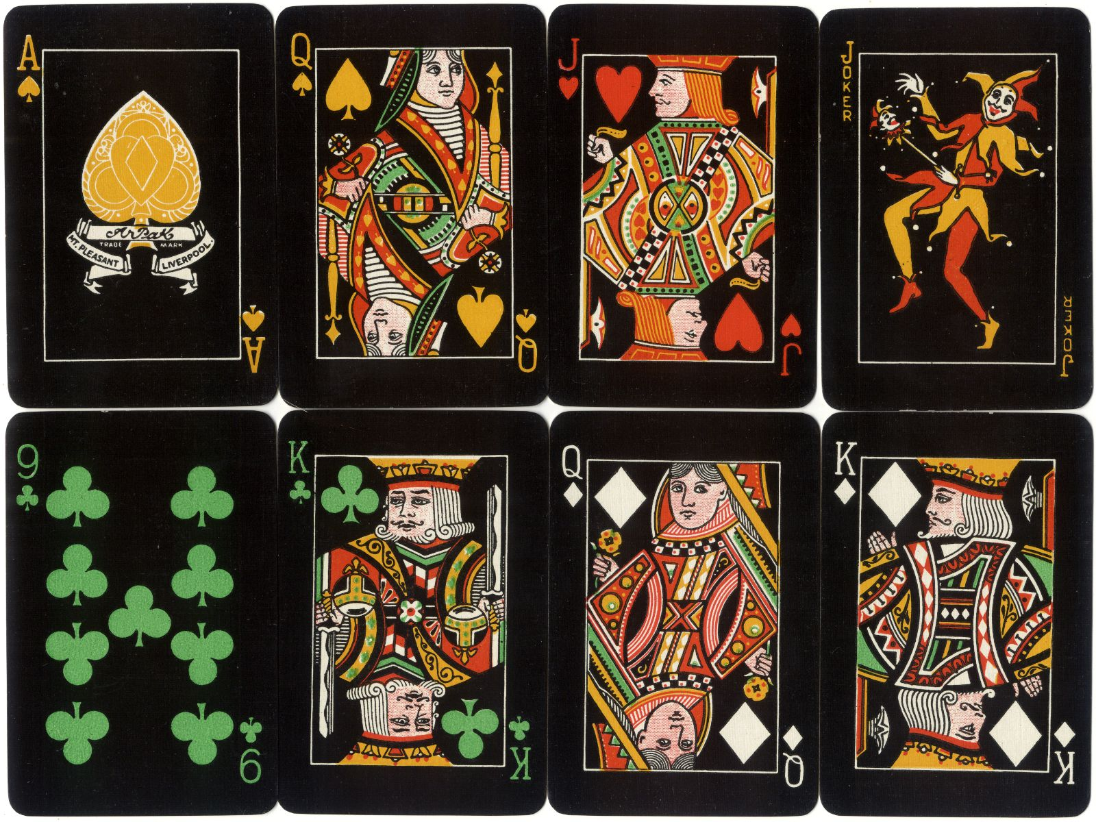 The Arpak No-Revoke playing cards, 24 Mount Pleasant, Liverpool, c.1927-35, large indices