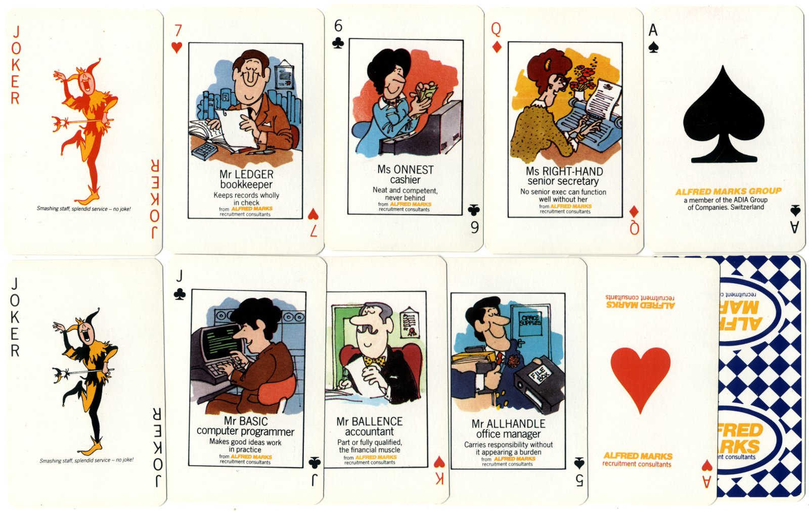 Alfred Marks Recruitment Consultants publicity playing cards, mid-1980s