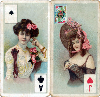 two early 20th century cigarette cards with miniature inset playing cards