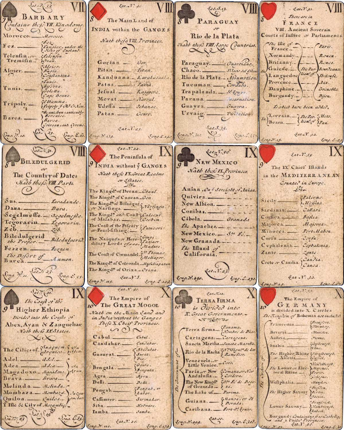 Geographical and/or Astronomy playing cards sold by Henry Brome, second edition, c.1682