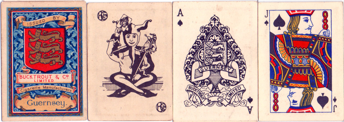 half-sized cigarette playing cards published by Bucktrout & Co. Ltd (Channel Isles) c.1930