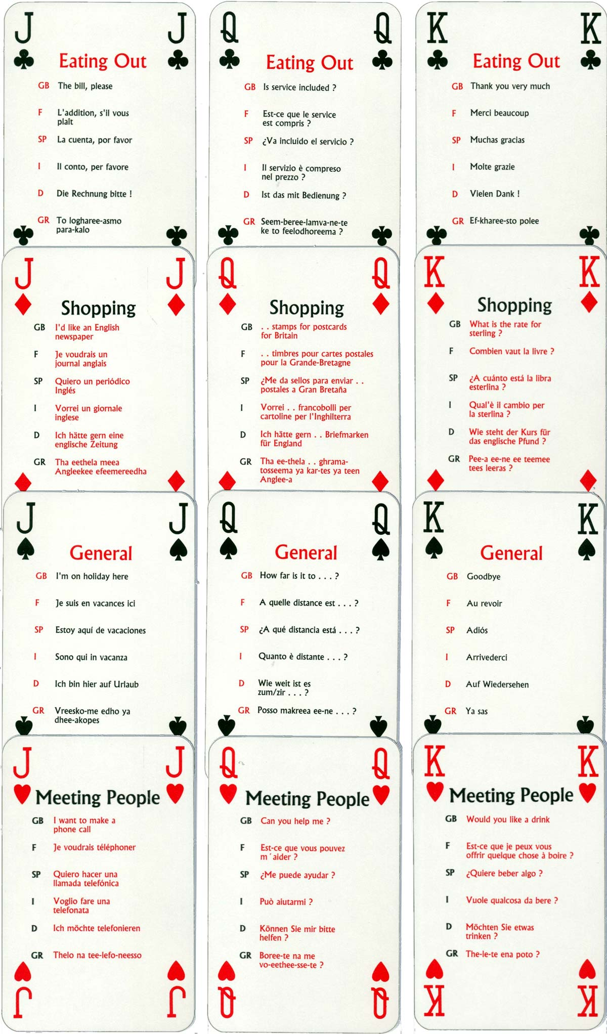 """European Phrase"" playing cards produced by Toyforce Ltd for Caledonian Airways, 1994"