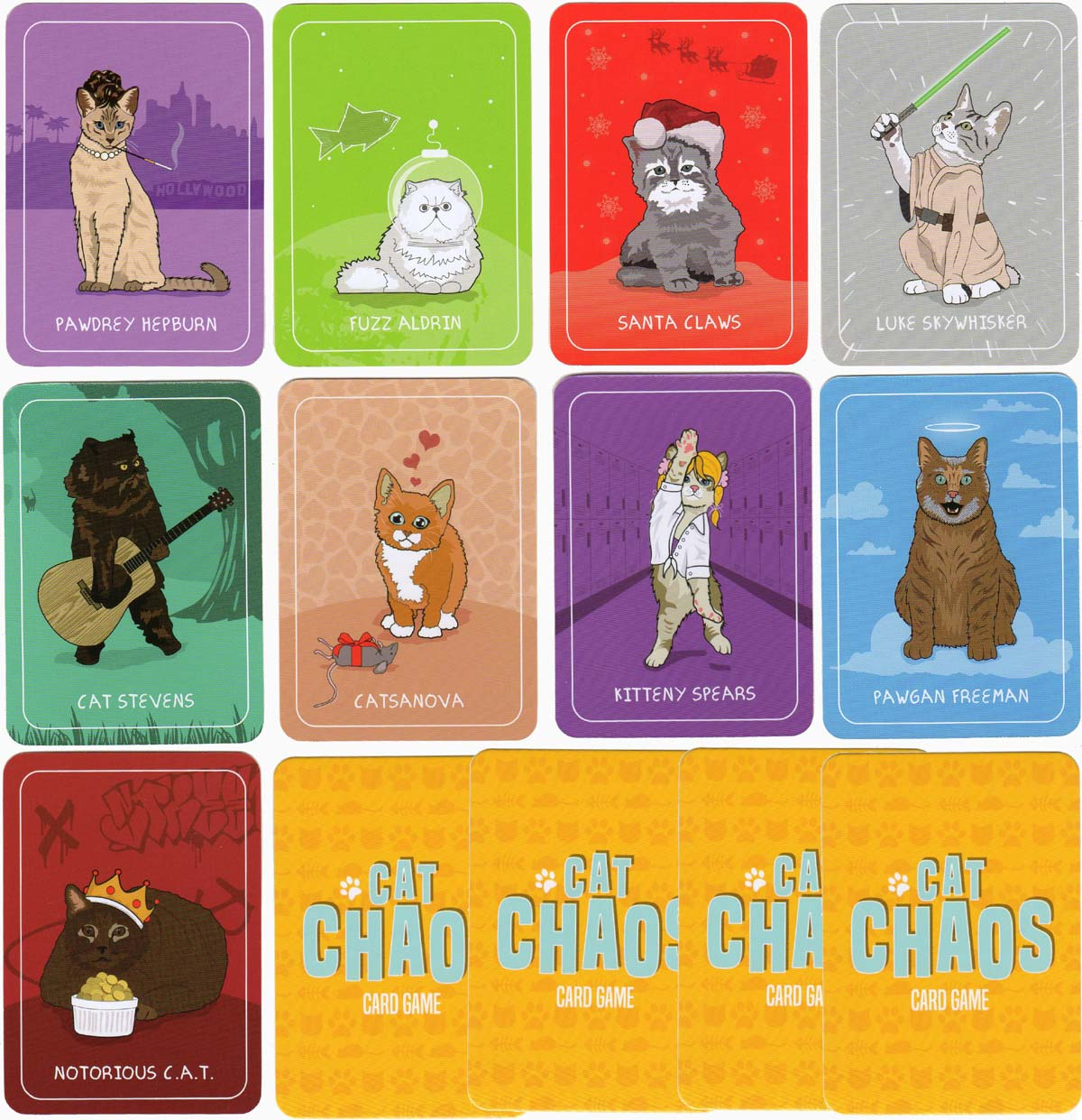 Cat Chaos celebrity edition card game by Ginger Fox Games, 2017