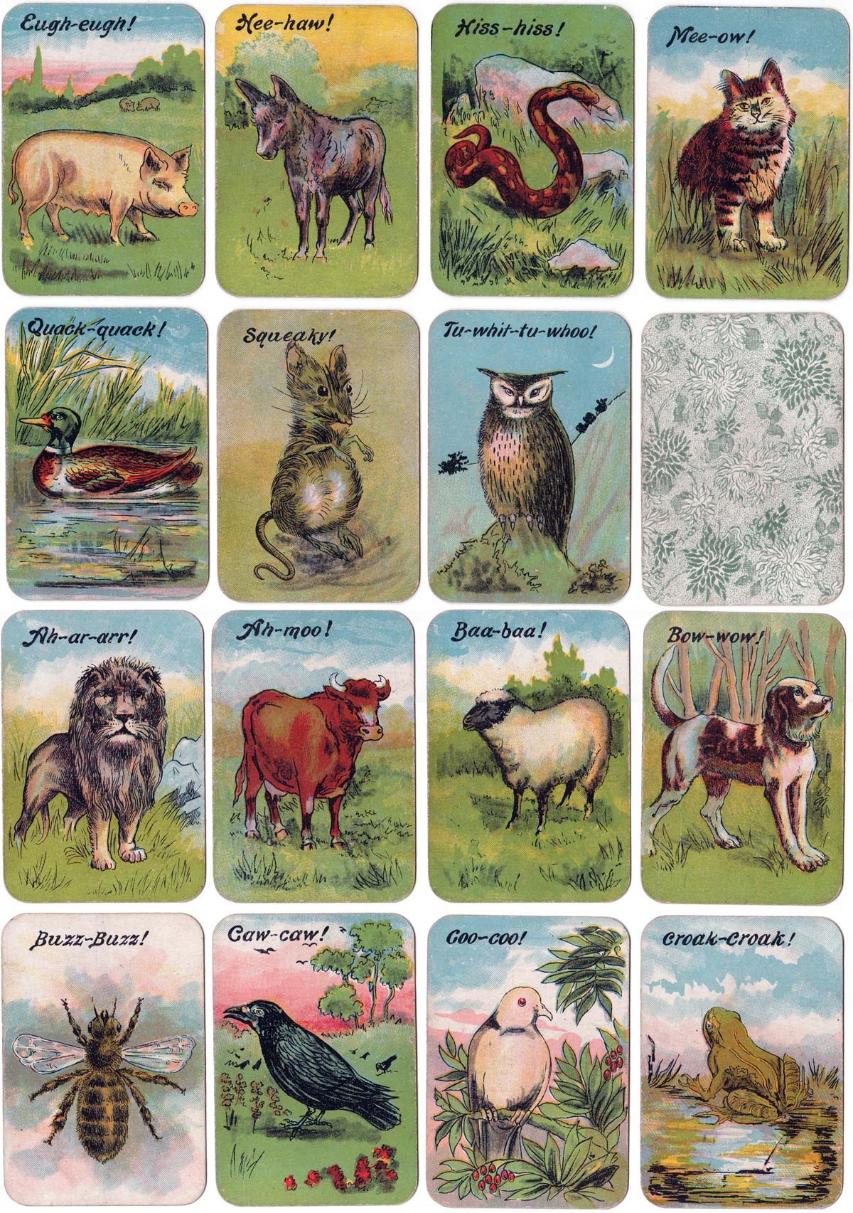 Chad Valley 'Forest Echoes Zoological Snap' card game, c.1912