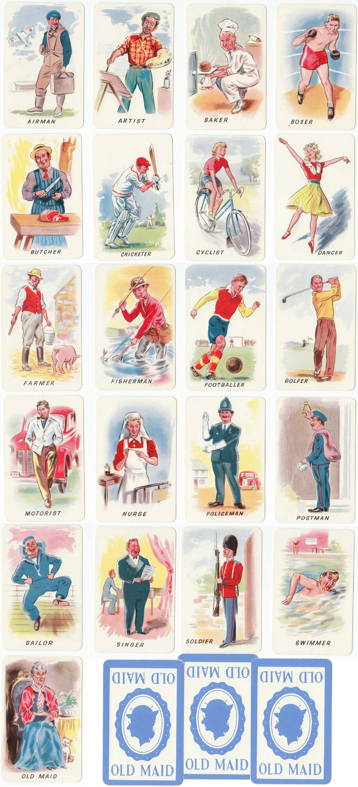 """""""Old Maid"""" card game manufactured by Chad Valley Co Ltd, mid-1950s"""