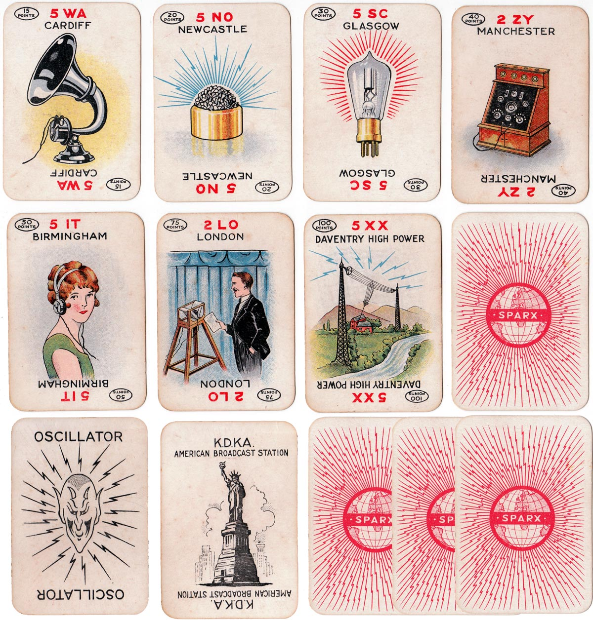 'Sparx' card game, or 'Listening In', published by Chad Valley Games, c.1910