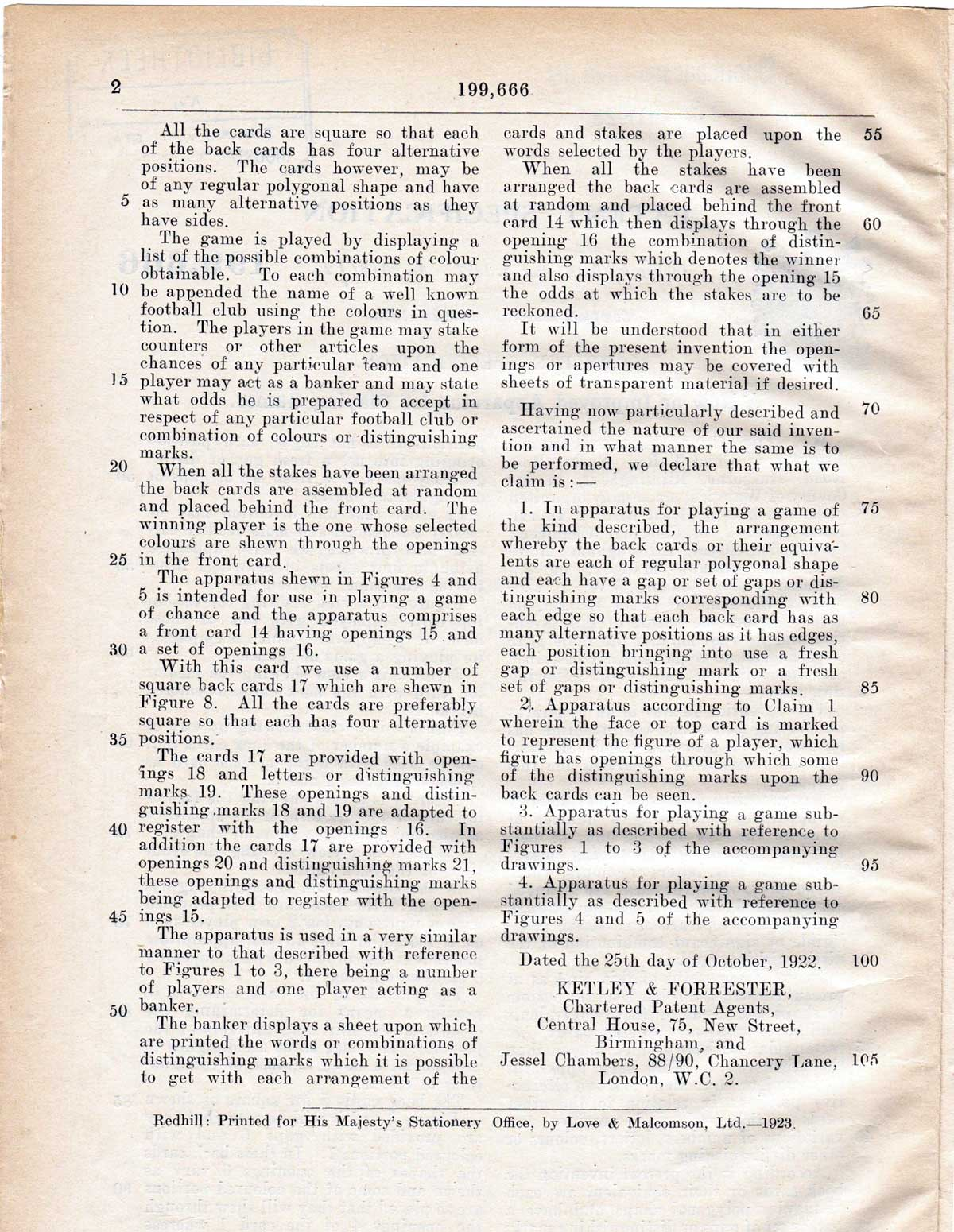 Uback patent, 1922