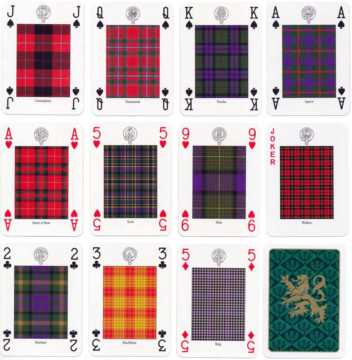 """Clans & Tartans of Scotland"" deck of cards designed and illustrated by Romilly Squire, 1997"