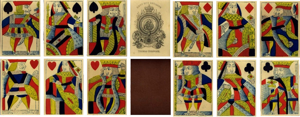 standard pack of English playing cards with 'Frizzle' Ace of Spades manufactured by Thomas Creswick, c.1830