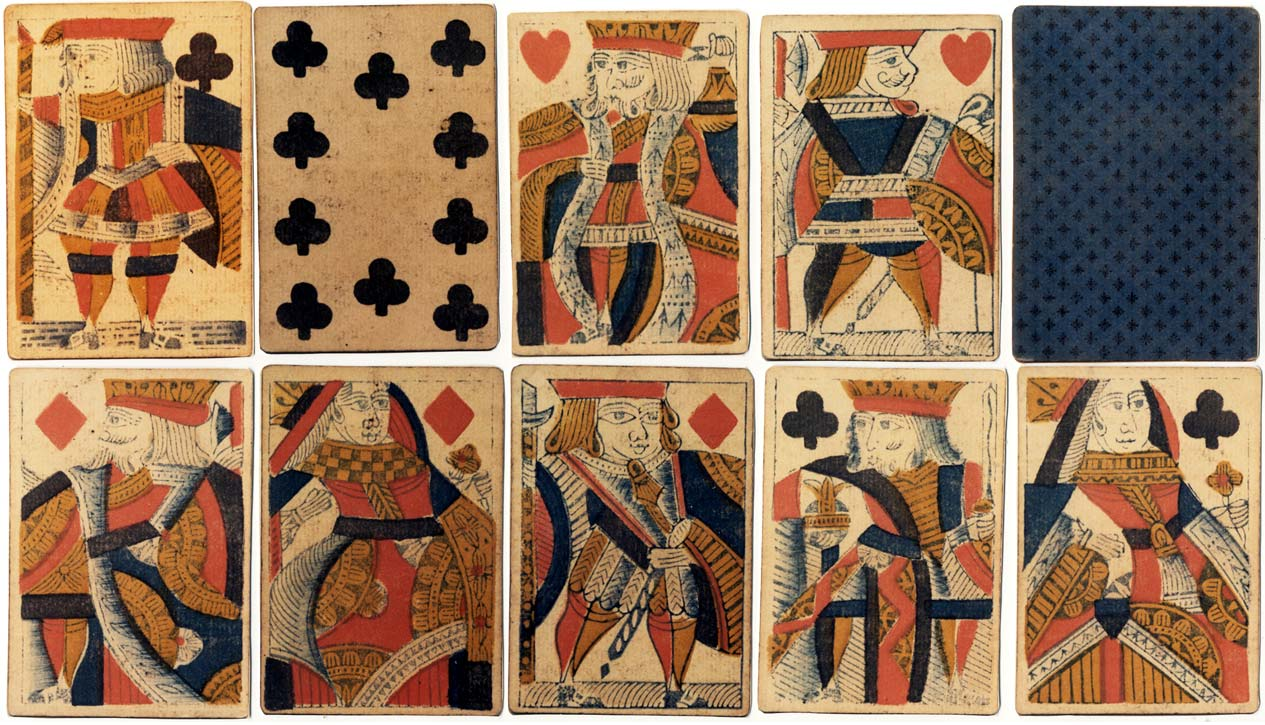 standard pack of English playing cards with 'Garter' Ace of Spades manufactured by Thomas Creswick, c.1825