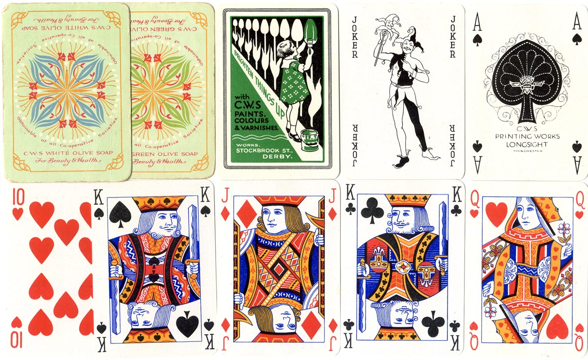 advertising playing cards manufactured by C.W.S. Printing Works, Longsight, Manchester during the 1930s